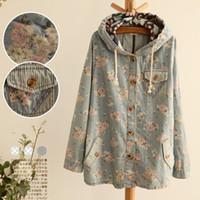 free japanese girl - 2015 New Women Long Sleeve Hooded DrawString Floral Denim Jacket Coat Pocket Singel Breasted Flower Mori Girl Japanese Style