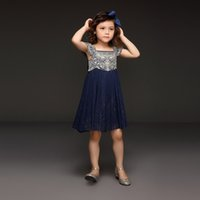 boutique clothes - 2015 Summer Navy Soft Tulle Girl Dress With Embroidery Top Princess Dresses For kids With Bow Belt Boutique Children Clothing GD50611