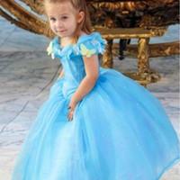 nylon chiffon - Cinderella girls dress hot movie Cinderella Deluxe Dress Girls Princess Cosplay Party Dress Girls Cinderella Costume For Kids