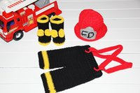 Wholesale handmade Crochet Firefighter Hat Suspender Pants and Boots baby sets Newborn Photography Prop NB M cotton