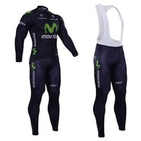 Wholesale 2015 Movistar Winter Cycling Clothing Men Long Sleeve Thermal Fleece Cycling Jersey and Bib Pants Set Winter Bicycle Clothing