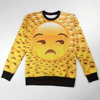 beige tiles - w1213 Emoji tile print D sweatshirt big head expression yellow sweats crewneck full printing cartoon hood women male casual clothes
