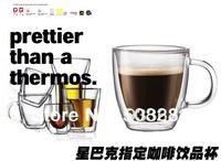 beer bistro - ml Bistro Style Double Wall glass coffee beer mug Glass Cup Mug With Handle stein mug