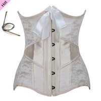 Wholesale sexy waist training corsets and bustiers white underbust corset steel cincher bustiers for women steel boned short corselet