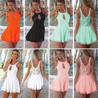 sexy lace bodysuit - New Fashion women Sexy Cut Out Lace Playsuit Jumpsuits bodysuit summer clothing SV002601