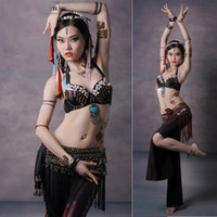 bra nylon spandex - 2015 New Belly Dance Costume Set Bra Hip Scarf Pants Lady Indian Dress Tribal Style Professional Egyptian Costumes Women DQ10004