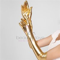 Wholesale Women Sexy Gothic Gloves Long Gloves Five Fingers Faux Leather Latex Gloves Sexy Gold Wet Look Adult Sexy Latex Gloves
