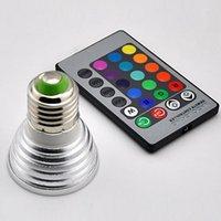 Wholesale LED RGB Bulb W Colors Changing W LED Spotlights E27 E14 MR16 with Key Remote Control V