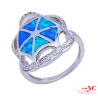 Cheap Sale Finger Wedding Rings Fine Jewelry Lady's Fashion Blue Sapphire AAA Zircon opal anel 925 Sliver Gold Filled Ring S096-R6