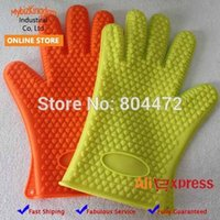 Wholesale 1 Pair Silicone Oven Gloves Heat Resistant Mitts Insulated Waterproof Guarantee BBQ