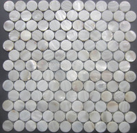 Wholesale white mother of pearl tiles circular shell mosaic tiles decorative shell mosaic bathroom wall tiles