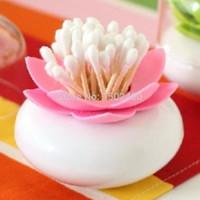 Wholesale Tandenstokerdecoratie tooth pick holder Beautiful pink lotus seat swab Toothpick Holder home decoration tube storage box