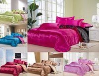 Wholesale Custom Size Solid Color Bedding Set Deep Pink Black Two Colors Flat fell Seam Mulberry Silk Satin Comforter Set Full Twin Queen King Size