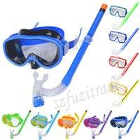 Wholesale Promotion Kids Swimming Mask Pool Diving Equipment Anti Fog Goggles Scuba Mask Snorkel Glasses Set Children Gift AHA00143