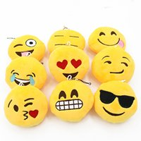 Wholesale Top quality Cute Soft Emoji Smiley Emoticon Pendant Yellow Round Plush Toy Doll Ornaments C24