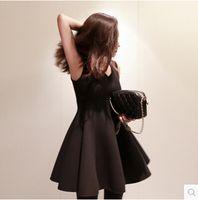 belly basics - Belly Gone autumn and winter V neck one piece dress sleeveless vest plus size A line medium elegant slim basic dress
