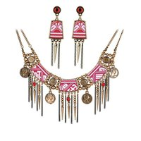 african earings - Europe and America Necklace and Earrings Jewelry Suit Europe and America Exaggerated Long Rivet Chain Necklace and Earings Suit Jewelry