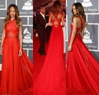 Wholesale 2015 th Grammy Rihanna Dresses Red Chiffon Open Back Court Train Celebrity Dress Sleevelss Red Sheer Chiffon Evening Dresses Party Wq06