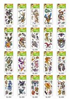 arm tiger - 600Pcs DHL Mini Water Transfer Temporary Tattoo Sticker Skull Flower Tiger Eagle Lion Snake Flower Random Cheap