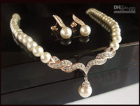 beautiful wedding jewellery - Rose Gold Plated Beautiful Cream Pearl and Rhinestone Crystal Teardrop Wedding Jewellery Set Necklac