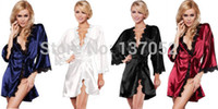 Wholesale Hot new Luxury Women sexy Nightwear Satin Lingerie Intimate night Gown Robe Kimono Sleepwear