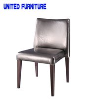 Wholesale Factory Outlets Fashion classic style black leather Chairs solid wood grain lleg Dining Chairs home furniture