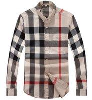 basic online - Discount Brand Men s Big Check Plaid Shirt Cotton Basic Leisure Shirts Online Sale S XXL Size