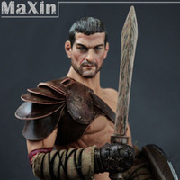 Wholesale 1 Roman Gladiator Figure Muscular Men Wrestling Spartacus Sword Toy Action Figure Soldier Model Lifelike Dolls for Children order lt no tr