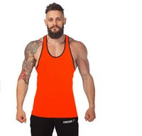 Wholesale Cotton Gym Tank Top Mens Bodybuilding Stringer Tops Undershirt Fitness Vest Muscle Sleeveless Singlet Racerback Top