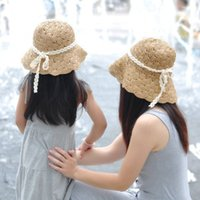 bamboo folding hat - baby girl straw hat folding sun hat girl summer straw hats floppy beach hats Collapsible hat Children in stock