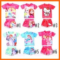 swim shirts - 2014 new Frozen Swimwear Child Sets Beachwear Kids Swimwear Swimsuit Kids Bathing Suits Tee Shirt Swim Trunks