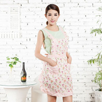 Wholesale Flower Lace Restaurant Home Cooking Kitchen Bib Apron Cotton Dress W Pockets