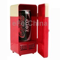 Wholesale Mini USB PC Fridge Beverage Drink Cans Cooling Heating Red