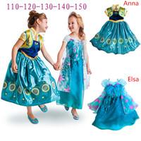 Wholesale New style Fever Queen Elsa Anna Princess Dresses Kids Sequin Dress Lace Party Dress