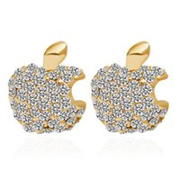 apple logo earrings - E200 Fashion Trendy Exquisite Sweet Leaf Apple iphone Logo Rhinestone Metal Gold Plated Earring Stud