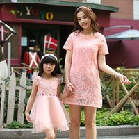 Wholesale matching dresses mom and daughter Dresses Summer fashion Girls Lace Dress mom dresses Sets Mom baby Clothes Princess Kids Skirts