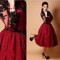Wholesale 2015 Red And Black Cocktail Dresses Embroidery Lace Knee Length Evening Gowns Long Sleeves Formal Party Holiday Wear Arabic Vestidos