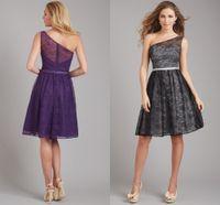 Wholesale Charm And Elegance Bridesmaid Dress Black Blue Purple One Shoulder lace A Line Knee Length Dress Bridesmaid
