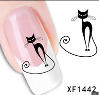 achat en gros de autocollants pour ongles en gel-XF1442] Loveliness Cat Water Transfer Nail Autocollants Gel Beauty Decal Maquillage tentation Cartoon Cat Sweetheart Animation