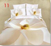 Wholesale Satin Sheet Set Free Shipping - 4 PCS Free shipping 100% cotton satin 3D white bed sheet printed bedroom bedlinen duvet cover set bedding set bedspread BY DHL(240016)