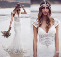 beautiful ebony - Anna Campbell Bridal Dresse Lace Strap V Neckline Embellished Bodice Beautiful Trumpet Mermaid Wedding Dress Ebony