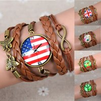 american flag butterfly - Fashion Infinity Charm Galaxy Glass Cabochon Bracelet Flower Butterfly US flag Bronze Tone Alloy Multilayer Leather Bracelet Customized