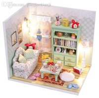 Wholesale Lazy Time Design DIY Wood Dollhouse Miniature LED Furniture Handmade Room Kits