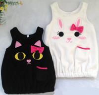 japanese dress style - Japanese Style Girls Cartoon Rabbit Cat Embroidered Vest Skirt Kids Coral Fleece Sleeveless Dressy Children Elastic Band Peplum Dress E1553