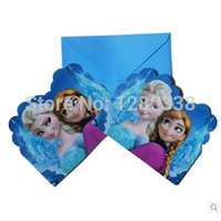 frozen party supplies - 12PC Envelop Shape Popular Frozen Theme Party Invitation Card Children Girl Birthday Festival Party Card Supplies