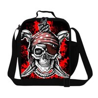 adult lunch cooler - Personalized Insulated Skull Printing Lunch Bags for Adult Work Children s Cool Shoulder Meal Bag Polyester Thermal Lunch Box