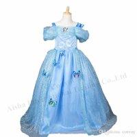 Wholesale Newest girls kids cinderella princess Butterfly dress cinderella long blue Dress party dress Cosplay costume dress GD63