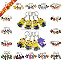 Wholesale 500pcs Mixed Despicable Me Minecraft Avengers TMNT Cars Minions D Keychains Key Ring For Bags Cartoon Characters Key Accessories Party Gift