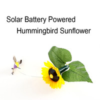 Wholesale FreeDHL Christmas Gift Vivid Solar Battery Powered Fluttering Hummingbird Sunflower Feather Wings and Tails D709L