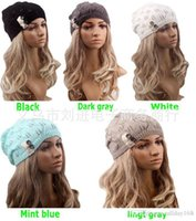Wholesale Cute Hats for women brand knitting warm knitting Hats Caps bud silk button wool warm hat Ms hedge beret